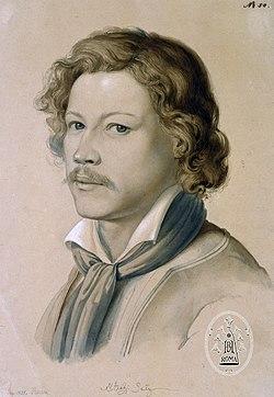 Porträt Alexander Maximilian Seitz, gezeichnet von Johann Martin von Rhoden, Rom 1835.jpg