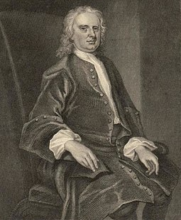 Engraving of a Portrait of Newton by John Vanderbank Portrait of Sir Isaac Newton (4670220).jpg