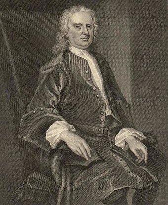 Engraving of a Portrait of Sir Isaac Newton by John Vanderbank Portrait of Sir Isaac Newton (4670220).jpg