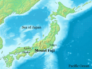 The position of Mount Fuji is indicated by a y...