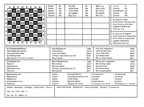 Correspondence Chess Card Showing Algebraic Notation And ICCF Notation