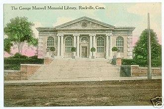 Rockville, Connecticut - Image: Postcard George Maxwell Mem Library Rockville CT