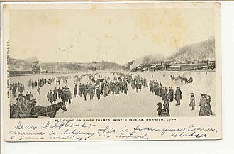 Thames River (Connecticut) - Sleighing on the frozen river, winter of 1903–1904