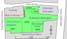 "An irregularly shaped tract of land, approximately 300ft west-to-east and 200ft north-to-south is set in a rectangle formed on three sides by streets. To the west is King Edward Street; to the north is Little Britain; to the east is Aldersgate Street; to the south is a large building occupying the entire southern edge of the park, labelled ""General Post Office"". The north-western part of the rectangle is occupied by housing, and the north-east part is occupied by St Botolph's Aldersgate church. The remainder of the land is parkland; the western portion is labelled Christ Church Greyfriars, a small square to the south adjacent to the Post Office but not touching any of the streets is labelled St Leonard, Foster Lane. A triangular shape at the northern edge is labelled CPF, with the western half marked ""1898"" and the eastern half marked ""1900"". The remainder of the land is occupied by an irregular shape labelled ""St Botolph's Aldersgate"". Immediately south of the western half of the CPF triangle, parallel to the eastern end of the section marked ""housing"", is a wall roughly 50ft long, labelled ""Wall of Heroes""."