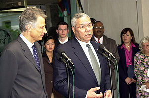Dominique de Villepin - Dominique de Villepin with U.S. Secretary of State Colin Powell, 2003