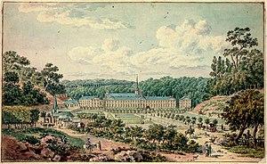 Prémontré Abbey - Prémontré Abbey, by Tavernier de Joniquières, pen and watercolour, 1780s