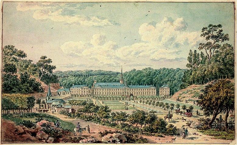 Abtei Prémontré, Aquarell von Tavernier de Jonquières, 1780er-Jahre, Wiki Commons