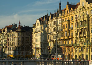 English: Riverside buildings in Prague, Czech ...