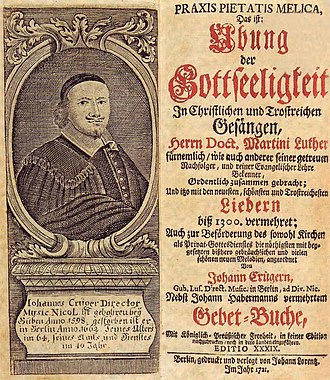 Hymnal - Praxis pietatis melica by Johann Crüger, an important German Lutheran hymnal from the 17th century