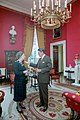 President Ronald Reagan talking with Prime Minister Margaret Thatcher in the Red Room.jpg