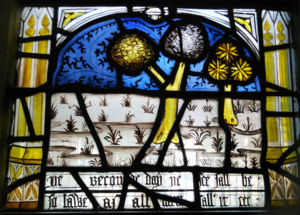 Prick of Conscience - Bottom central panel of the Prick of Conscience Window in All Saints Church, North Street, York, showing the second sign of doom: 'þe seconde day þe see sall be so lawe as all men sall it see' (cf. '¶The secounde day hit shal be low / That unnethe men shul hitte knowe' in the main manuscript version, ll. 5.753-54).