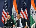 Prime Minister Narendra Modi meets US President Barack Obama on the sidelines of COP21 in Paris.jpg
