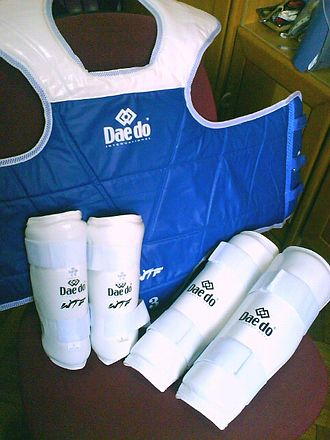 World Taekwondo - Official World Taekwondo trunk protector (hogu), forearm guards and shin guards