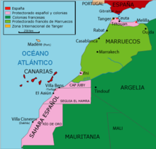 Map Of Spain And North Africa.Spanish Protectorate In Morocco Wikipedia