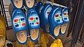 Provincial flag of Groningen on wooden shoes (2017).jpg