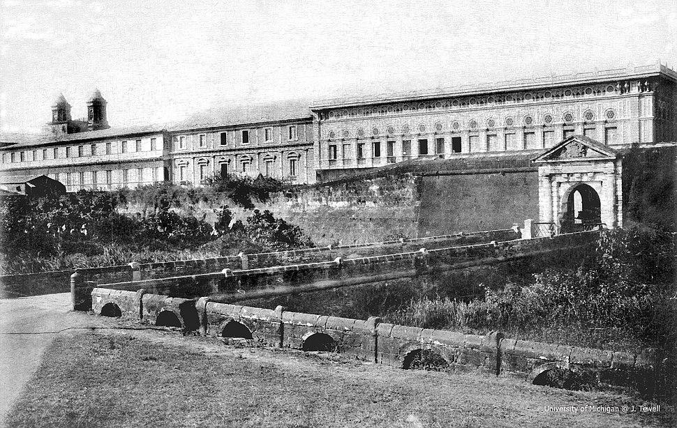 Puerta de Santa Lucia gate of Intramuros in front of Augustinian convento, Manila, Philippines – 1899