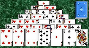 Pyramid (solitaire) - The initial layout of the game of Pyramid.