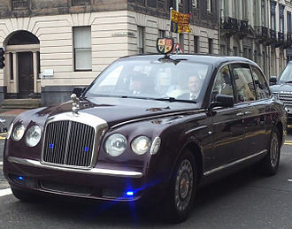 Bentley State Limousine - The State Limousine is equipped with flashing blue lights. Scottish lion ornament is displayed as is Her Majesty's Royal Standard and shield for Scotland (royal visit to Perth, 2012)