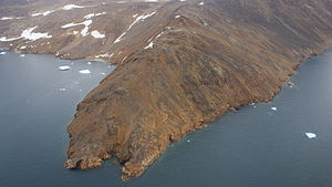 Qullikorsuit Island - Aerial view of the southwestern shore of Qullikorsuit Island