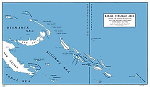 "Operation Ke - The Solomon Islands area in the south Pacific. The Japanese base at Rabaul is at the upper left. Guadalcanal (lower right) lies at the southeastern end of ""The Slot""."