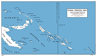 "Battle of Edson's Ridge - The Solomon Islands area in the south Pacific. The Japanese base at Rabaul is at the upper left.  Guadalcanal (lower right) lies at the southeastern end of ""The Slot""."