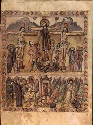 Easter - One of the earliest known depictions of the crucifixion and resurrection of Jesus (Rabbula Gospel illuminated manuscript, 6th century)