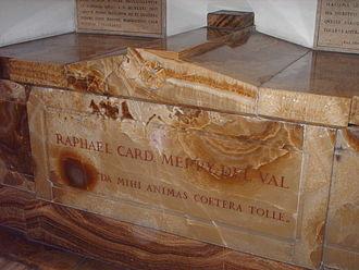 Rafael Merry del Val - Cardinal Merry del Val's tomb in the Vatican grottoes, Saint Peter's Basilica.