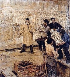 Jean-François Raffaëlli - Jean-François Raffaëlli, At the caster's, 1886, oil on canvas, 128 x 116 cm, Musée des Beaux-Arts, Lyon