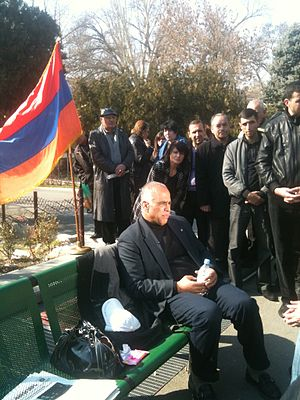 "Raffi Hovannisian - Raffi Hovannisian at Yerevan's Freedom Square during his ""Fast for Freedom"" hunger-strike, March 2011."