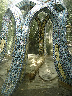 Rahi Mo'ayyeri - Rahi Mo'ayeri's tomb is enclosed by a glass case at Darband, Shemiran, Tehran.
