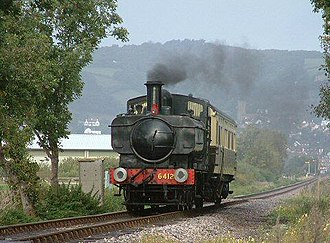 GWR 0-6-0PT - 6400 Class No. 6412 hauling an autocoach on the West Somerset Railway, October 2000