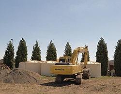 large polyethylene rainwater tanks being installed