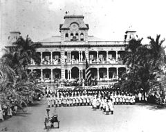 Raising of American flag at Iolani Palace with US Marines in the foreground.jpg