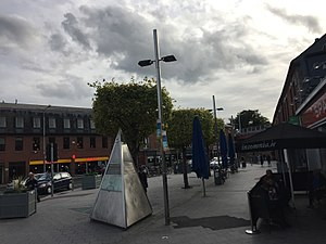 Ranelagh - Ranelagh Triangle in September 2017, with triangular memorial to local environmental activist Deirdre Kelly in the foreground