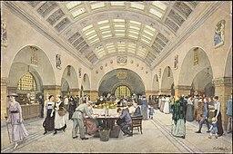 Perspektivische Innenansicht Halle der Stadtsparkasse Richard Böhland (geb. 1868, als Zeichner) [CC0], via Wikimedia Commons