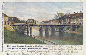St. Peter's Bridge - An early-20th century postcard of St. Peter's Bridge with the Ljubljana tram