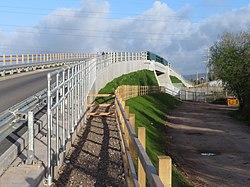 Reconstructed Green Lane railway bridge (geograph 5758526).jpg