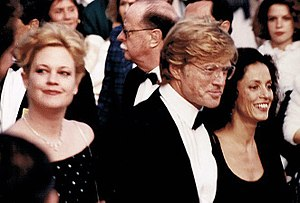 Robert Redford - Redford with Melanie Griffith and Sônia Braga, promoting The Milagro Beanfield War at the 1988 Cannes Film Festival
