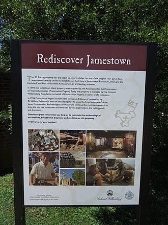 Jamestown Rediscovery - Image: Rediscover Jamestown Interpretive Sign, Historic Jamestowne, Colonial National Historical Park, Jamestown, Virginia (14424242272)