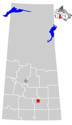 Location of Regina in the SE quadrant of Saskatchewan