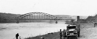 Ludendorff Bridge - The bridge seen from the bank of the Rhine before its March 1945 collapse