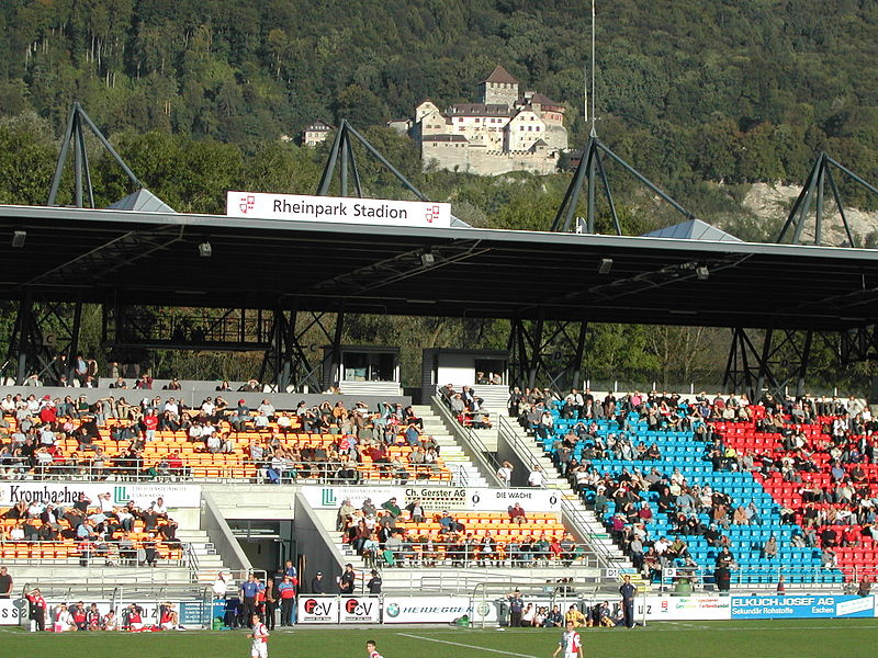 File:Rheinpark-Stadion-Main stand and castle.JPG