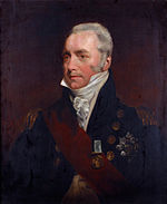 Painting shows a gray haired man in a dark blue military coat with a white frilled shirt and a red sash.
