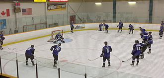 U Sports men's ice hockey - UOIT Ridgebacks warming up for an exhibition game in Fall 2013.