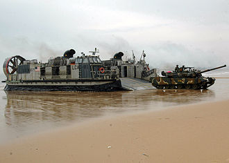 Amphibious warfare - South Korean Type 88 K1 MBT comes ashore from an American LCAC in March 2007.