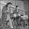 Rohwer Relocation Center, McGehee, Arkansas. A snare drum section of the high school band, in a pr . . . - NARA - 539377.jpg