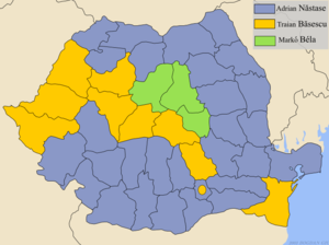 Romanian general election, 2004 - Winner by county in the first round
