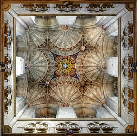 Canterbury Cathedral, fan vaulting of the crossing Roof of Bell Harry Tower.jpg