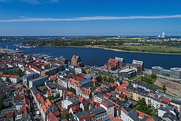 Aerial photo near the urban port in Rostock, Germany