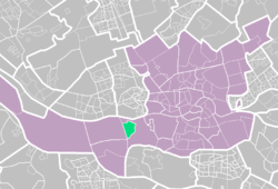 Pernis (light green) within Rotterdam (purple).